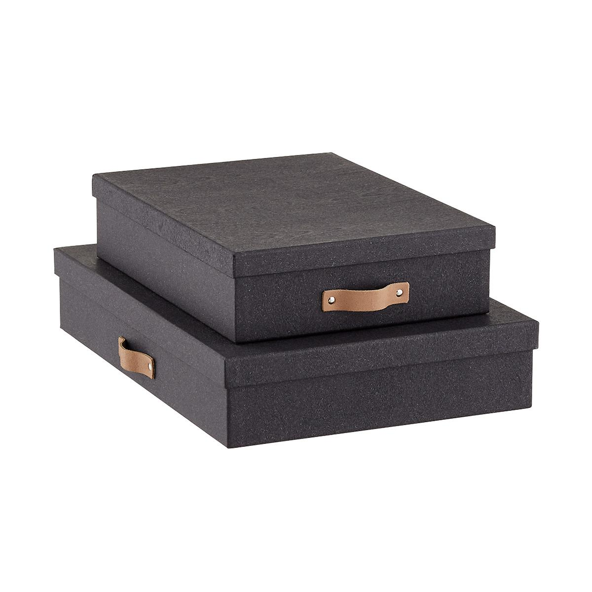 Bigso Black Woodgrain Office Storage Boxes