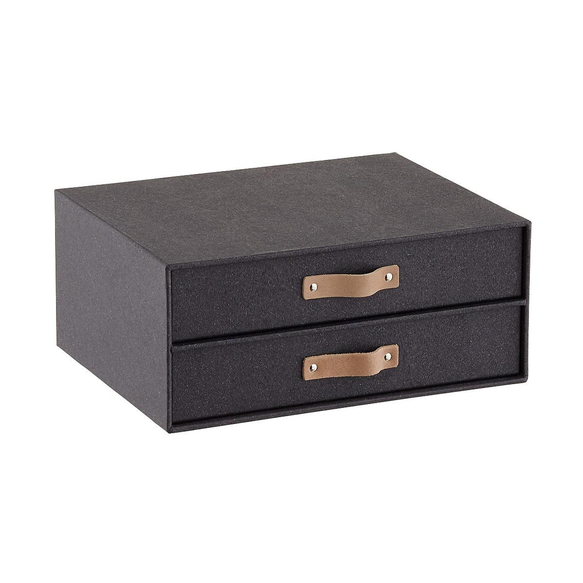 Bigso Black Woodgrain Paper Drawers