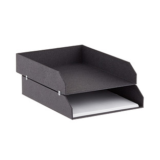 Bigso Black Woodgrain Set of 2 Stackable Letter Trays