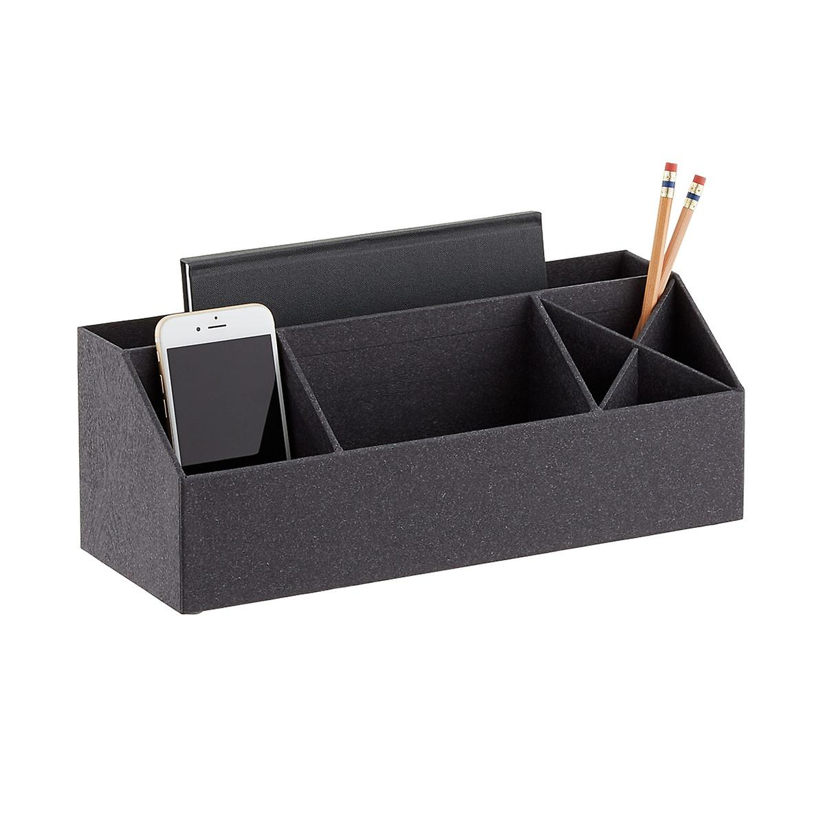 Bigso Black Woodgrain Desk Accessory Organizer