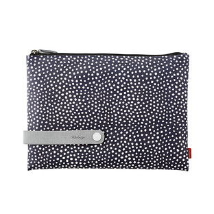 Large Navy Dots City Clutch & Travel Organizer