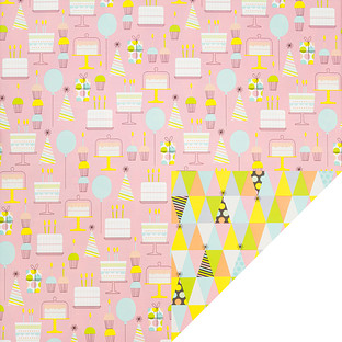 Wrap Cake & Party Hats Foil Reversible Wrapping Paper