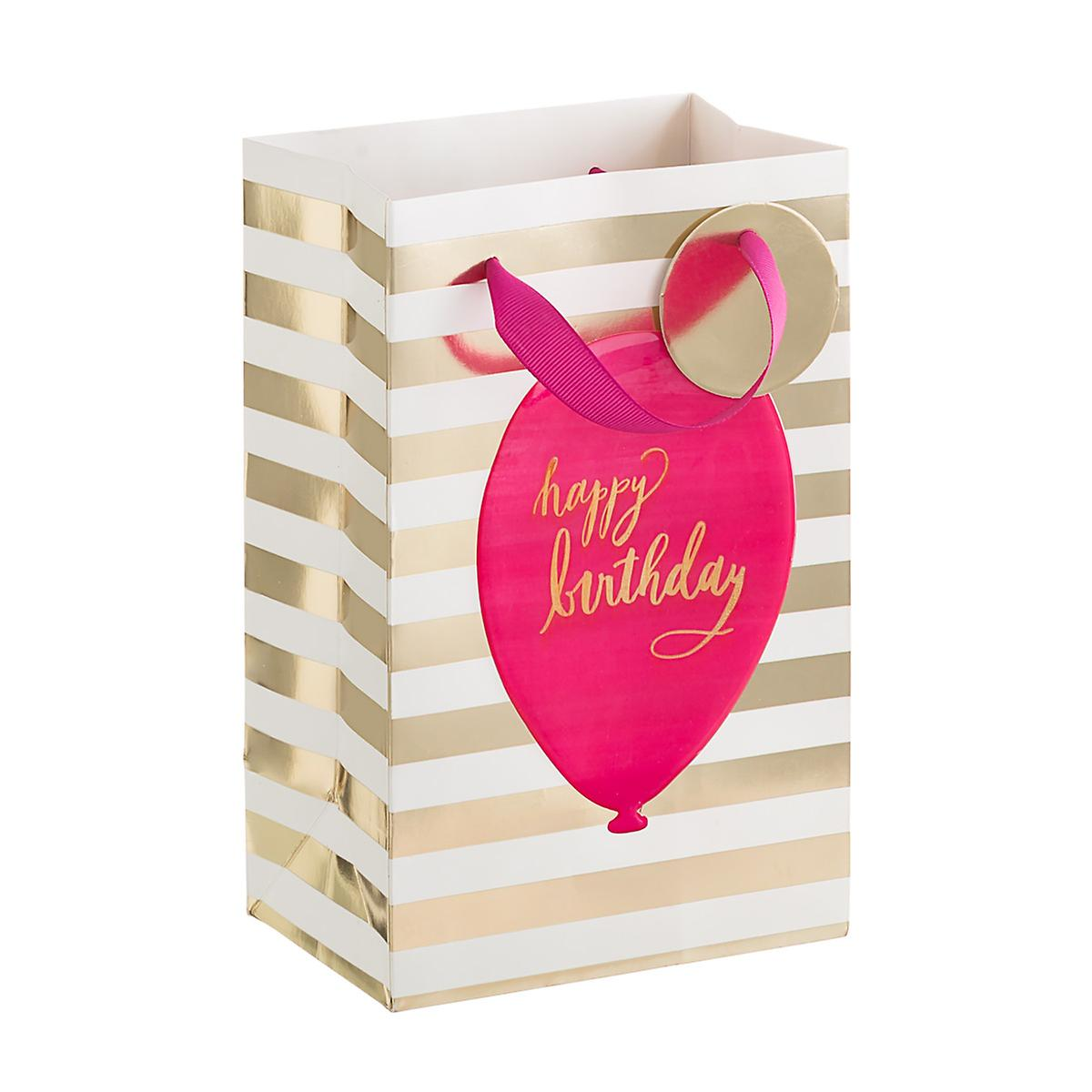 Pink & Gold Birthday Balloon Small Gift Bag