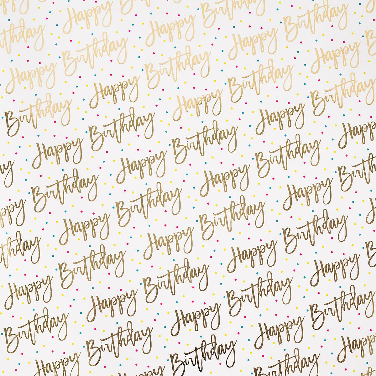 Happy Birthday Foil Dots Wrapping Paper