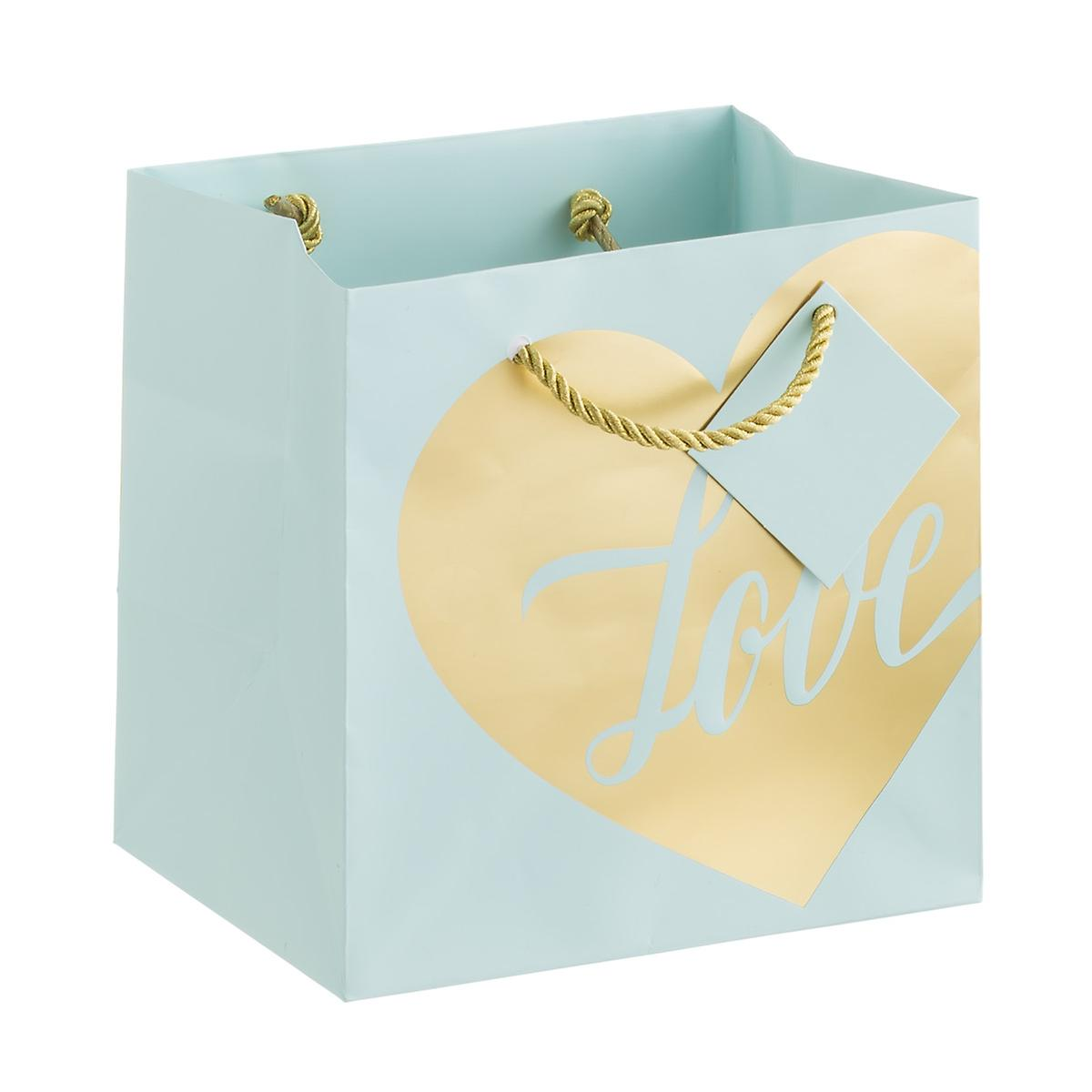 Aqua & Gold Love Heart Foil Small Gift Bag