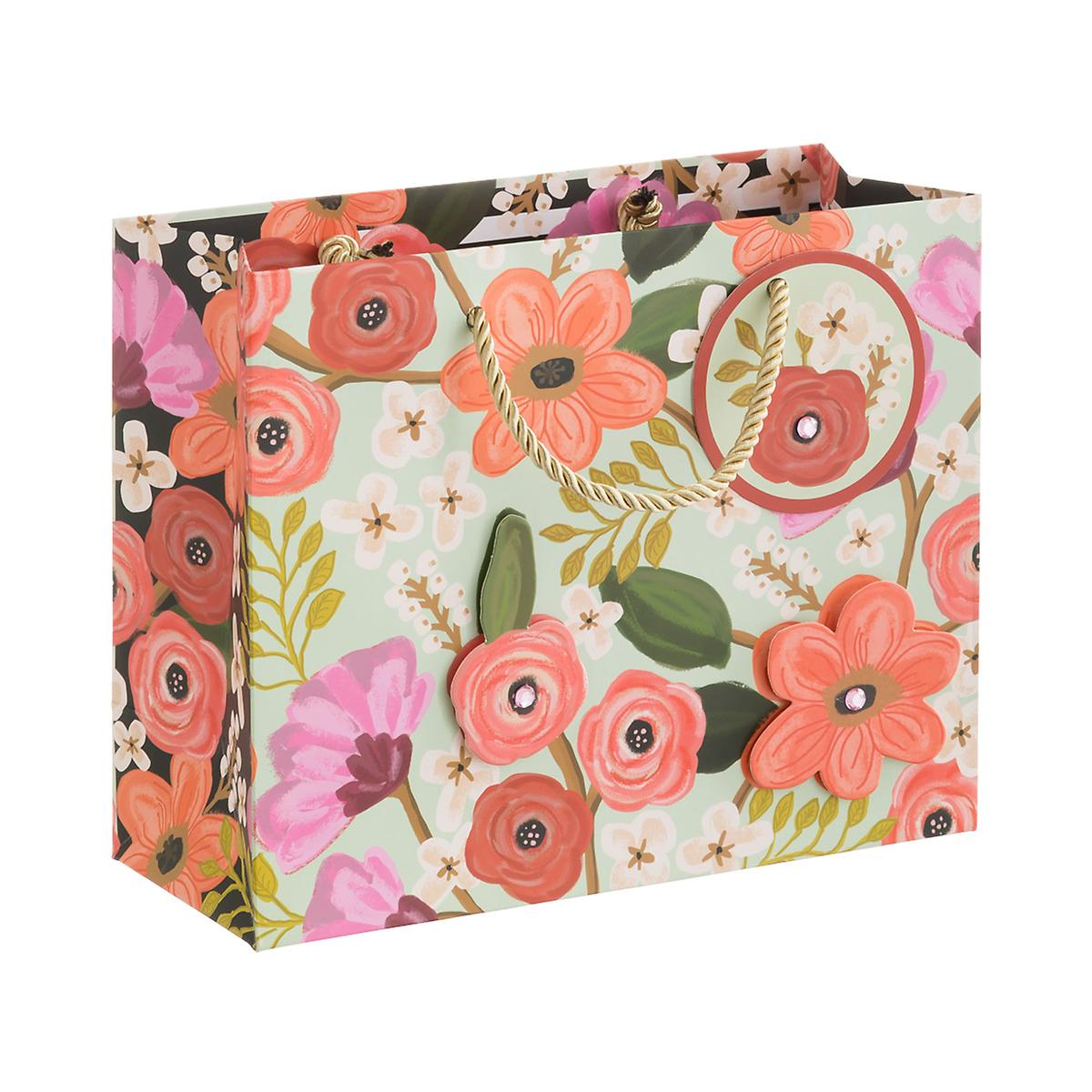 Vintage Mint Flowers Medium Gift Bag