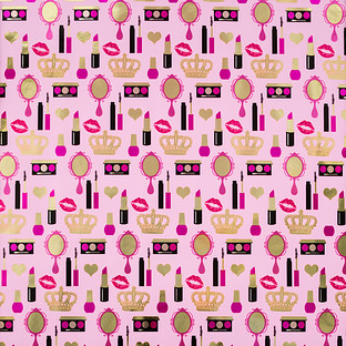 Pink & Gold Foil Glam Makeup Wrapping Paper