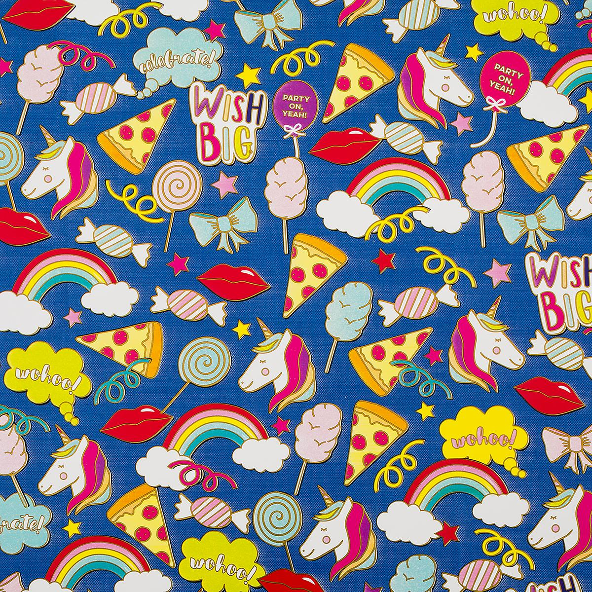 Navy Fun Pins Foil Wrapping Paper