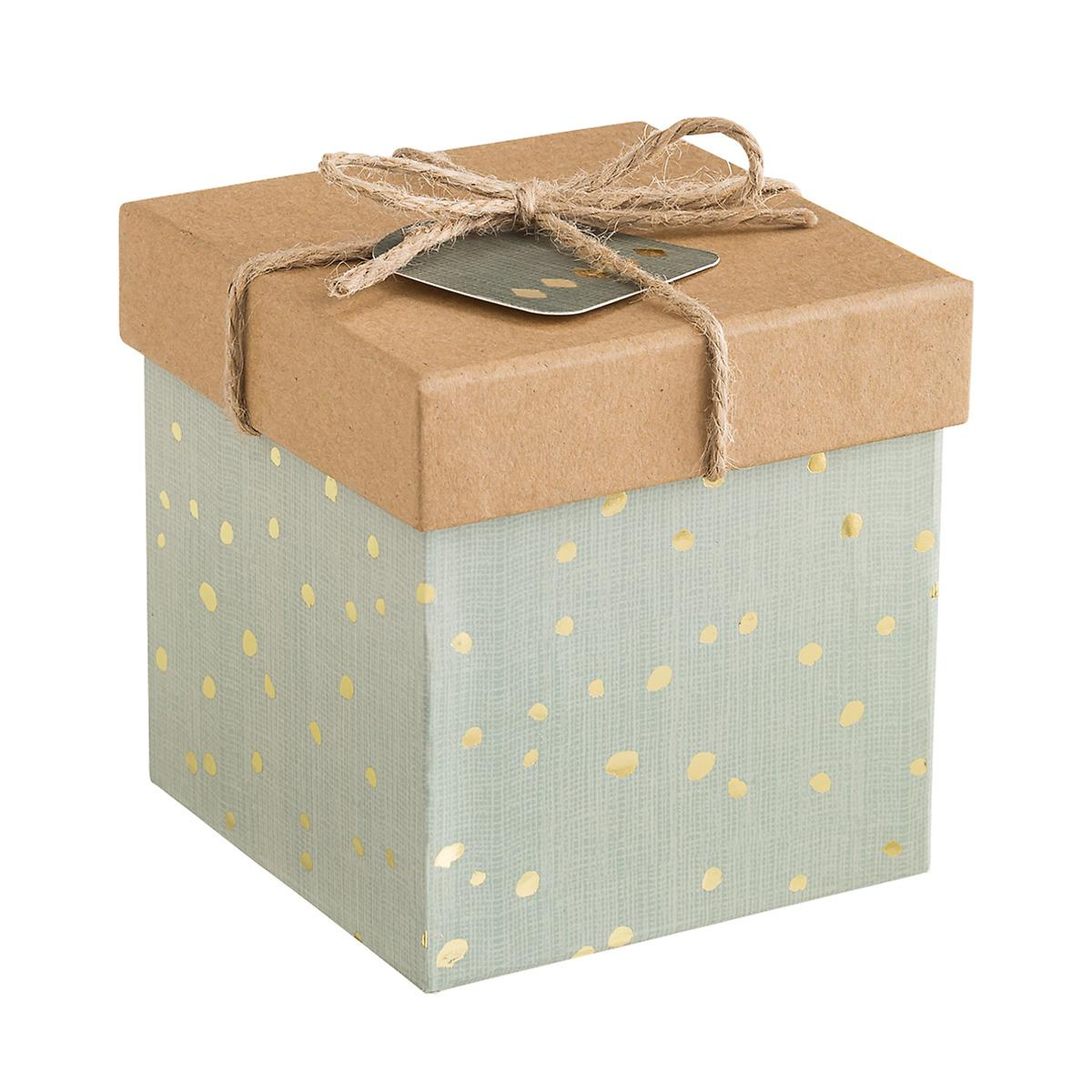 Grey & Gold Dot Metallic Square Trinket Box