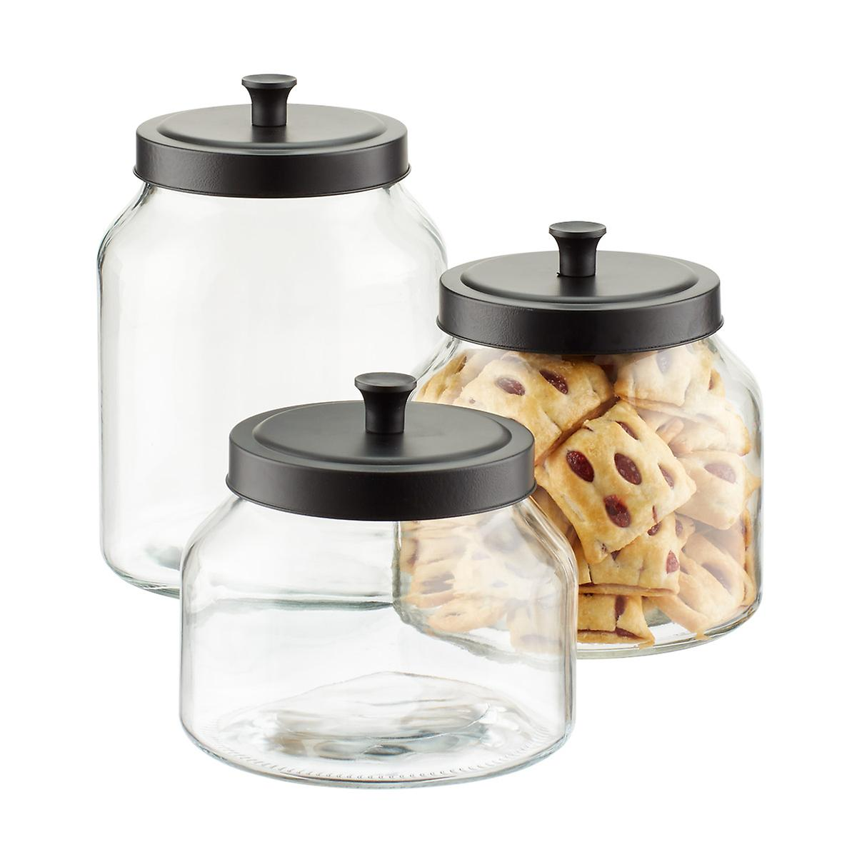 kitchen glass canisters with lids glass canisters with matte black lids the container store 8371