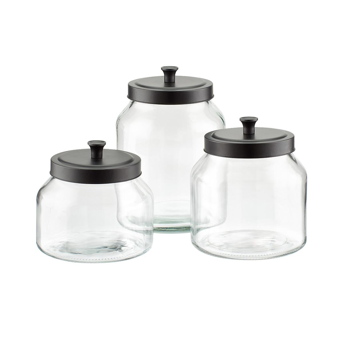 kitchen glass canisters with lids glass canisters with matte black lids the container store 8016