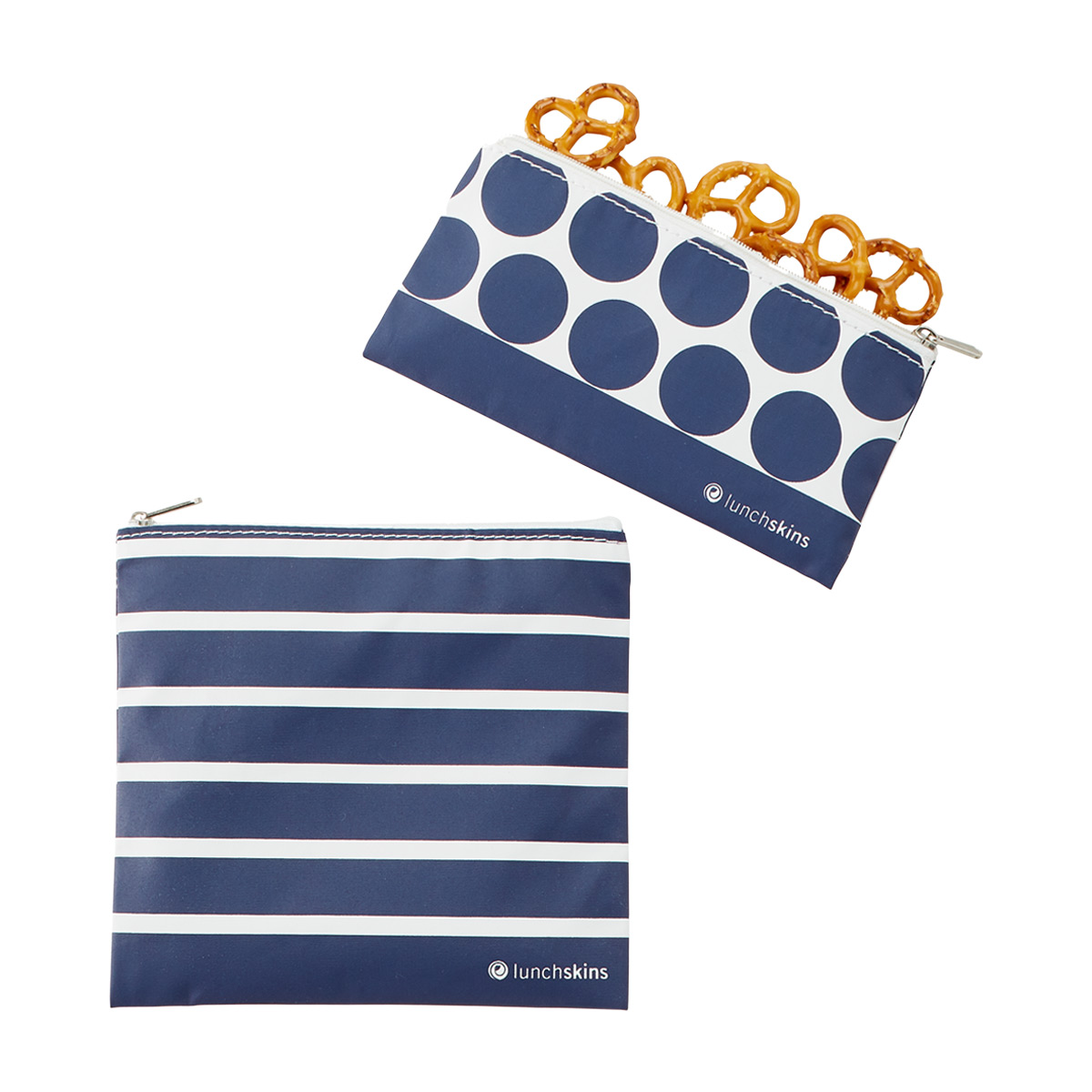 lunchskins Navy Stripe Zippered Bag Set