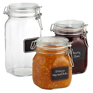 Bormioli Hermetic Glass Jars with Chalkboard Labels