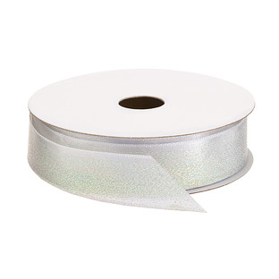 White Iridescent Ombre Glitter Satin Ribbon