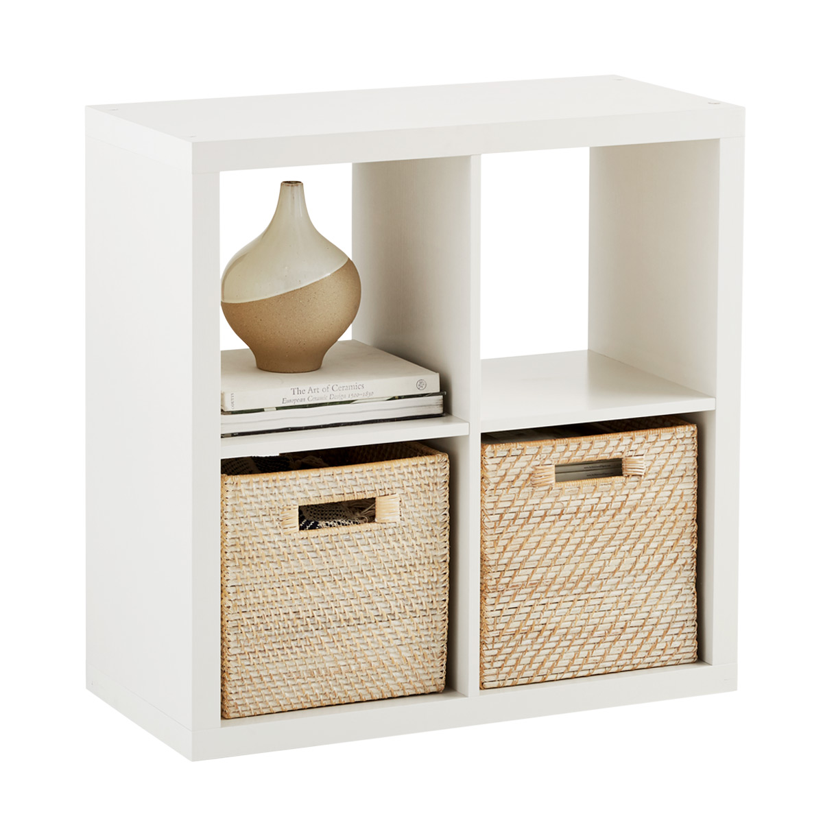 White 4-Cube Cubby Shelving