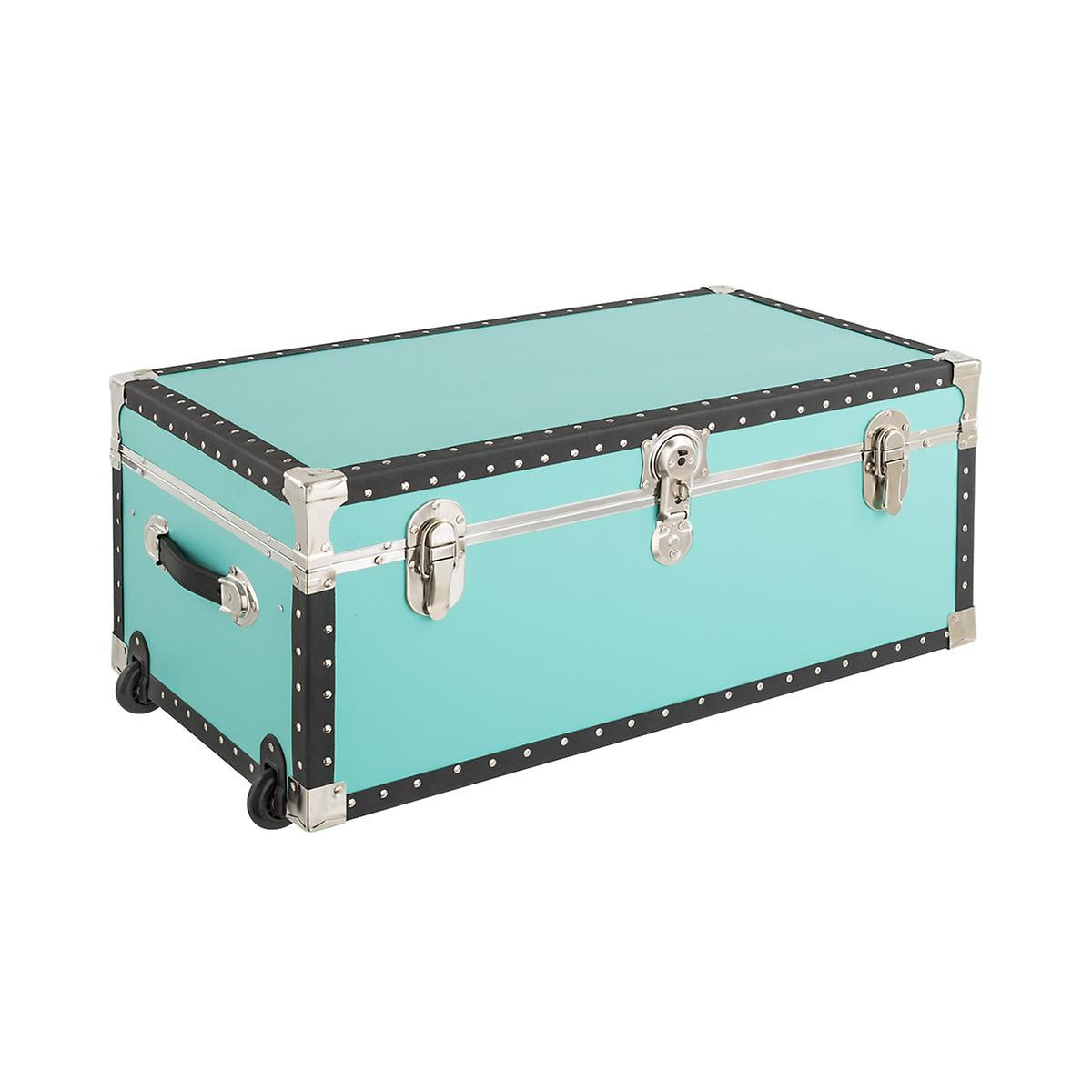 Aqua Rolling Footlocker with Tray