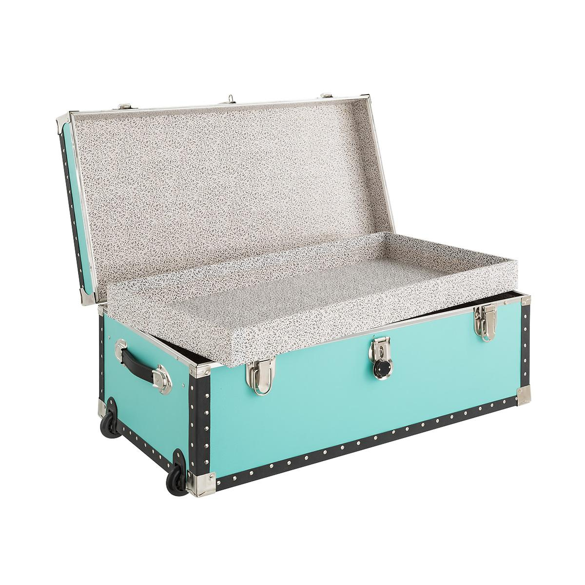 Aqua Rolling Trunk with Tray | The Container Store