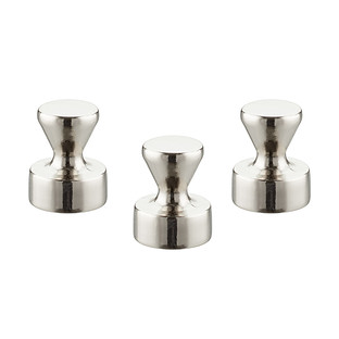 Three by Three Large Silver Knob Magnets