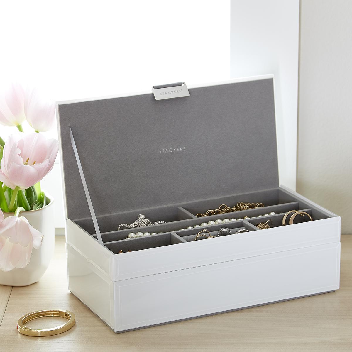 White Glass Stackers Jewelry Box