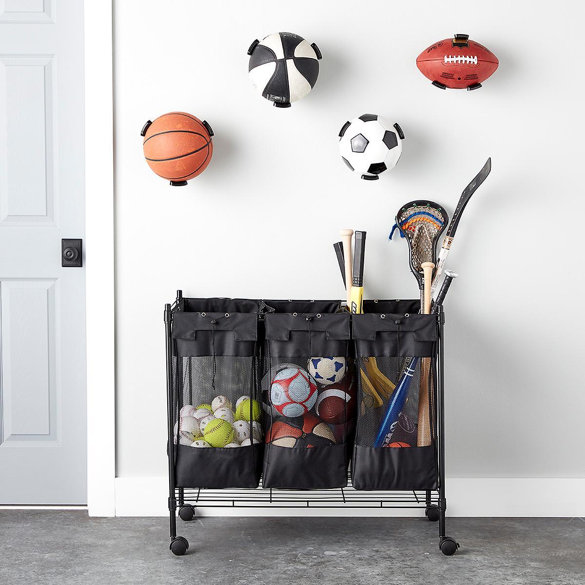 Ball Organizer Garage: Heavy-Duty Triple Storage Bin