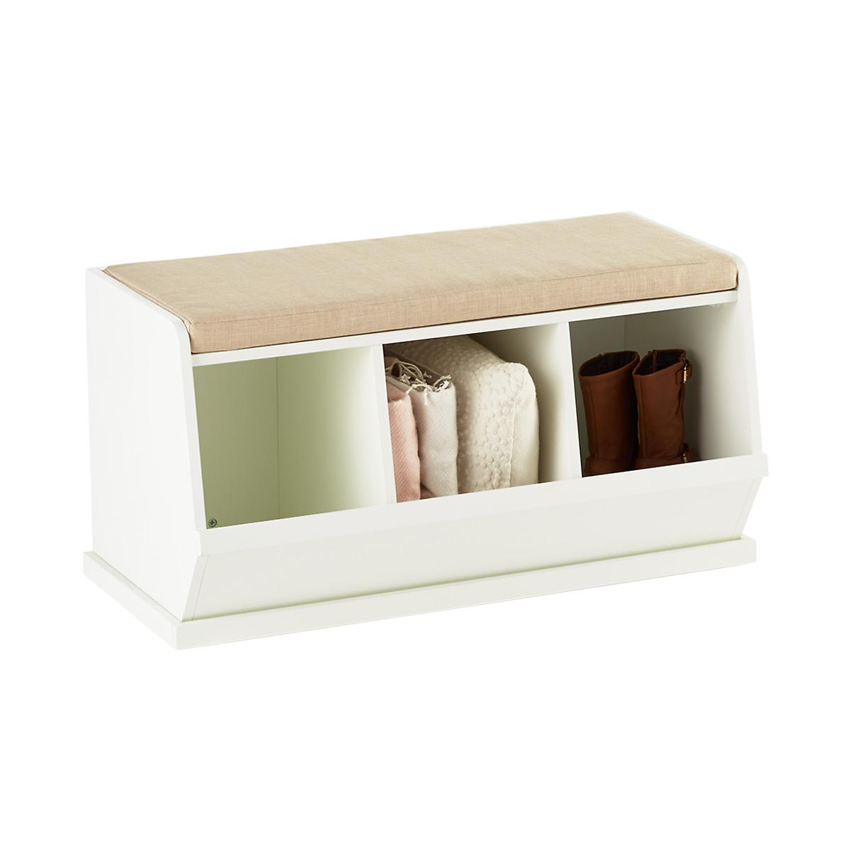 White Nantucket Triple Bin Bench