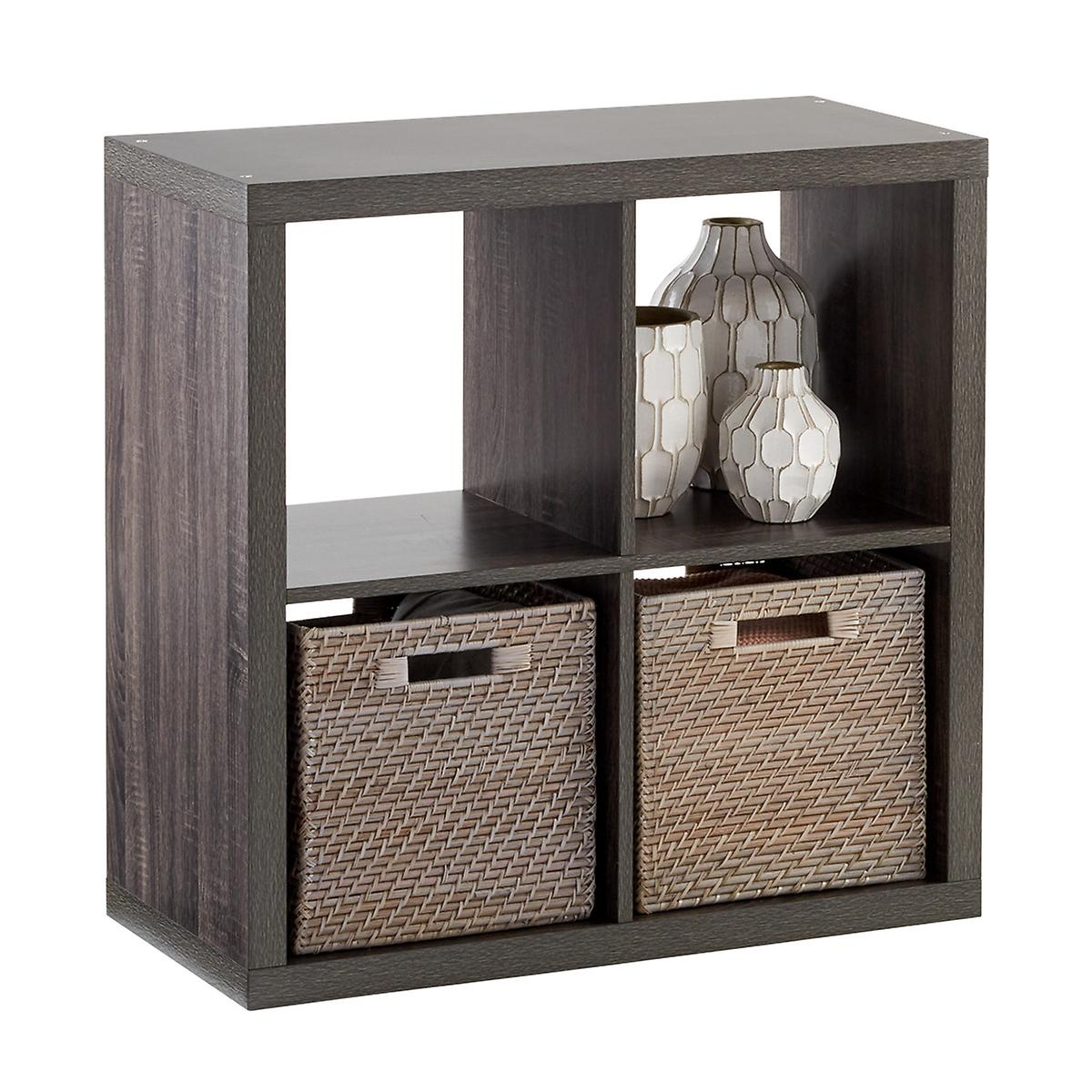 Weathered Smoke 4-Cube Cubby Shelving