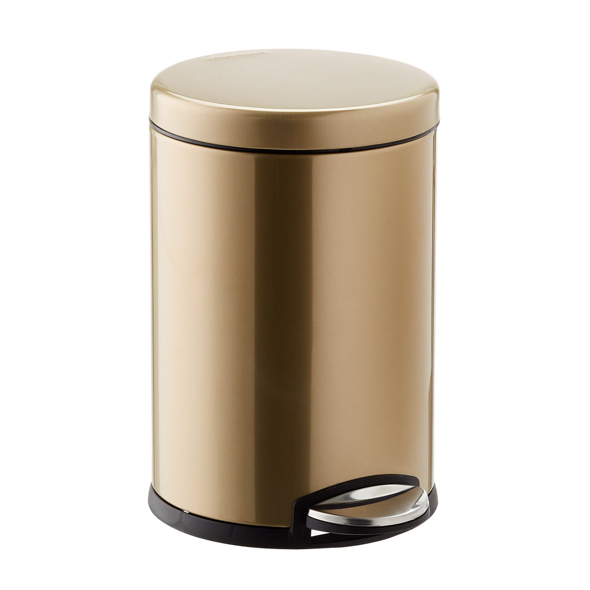 simplehuman Brass 1.2 gal. Round Step Trash Can