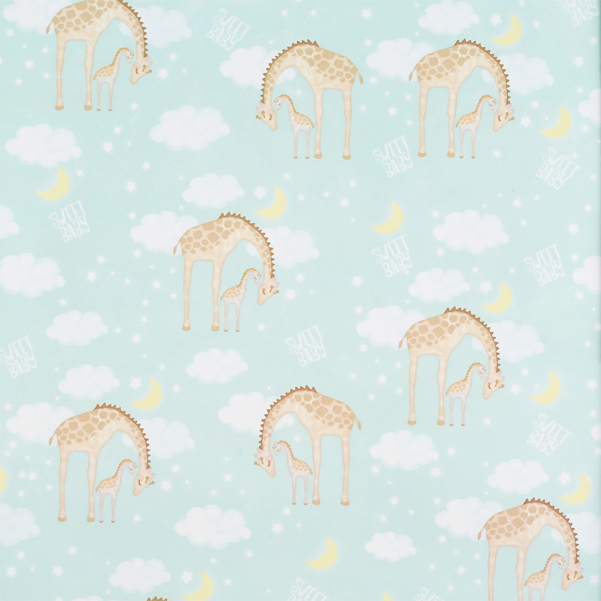 Mint Giraffes Nighty Night Wrapping Paper