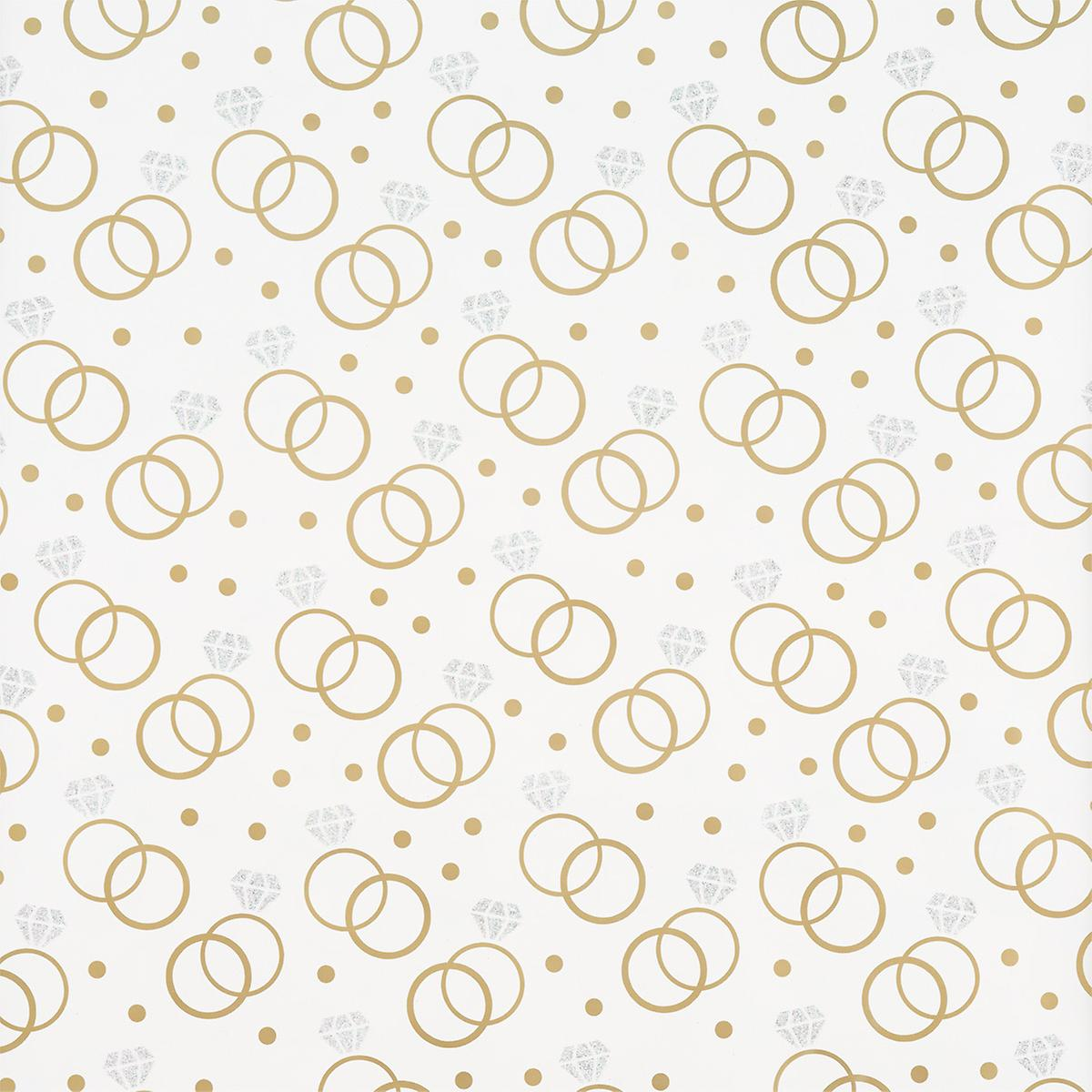 White & Gold Glitter Wedding Rings Wrapping Paper