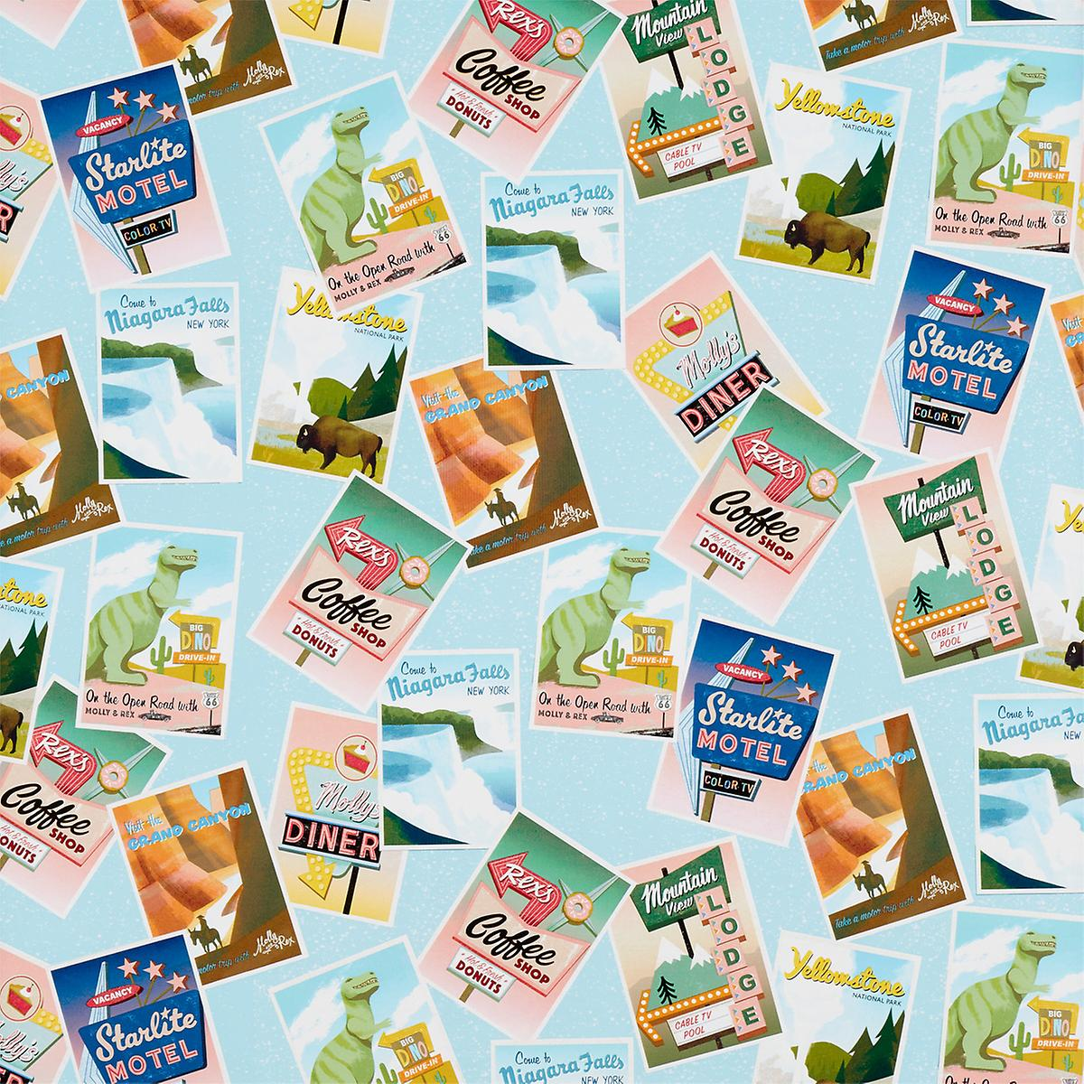 Road Trip Postcards Wrapping Paper