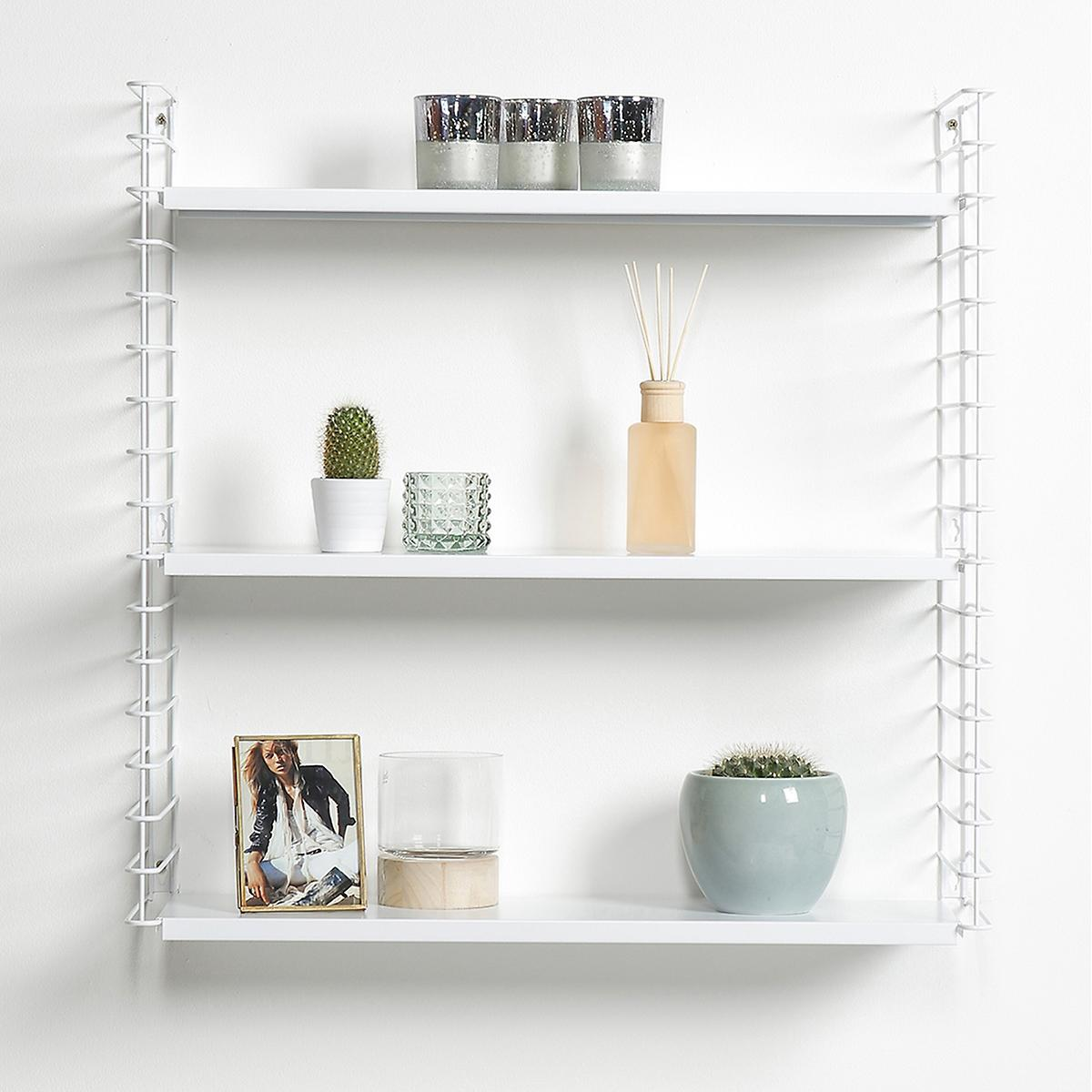 white metal libro wall shelf the container store. Black Bedroom Furniture Sets. Home Design Ideas