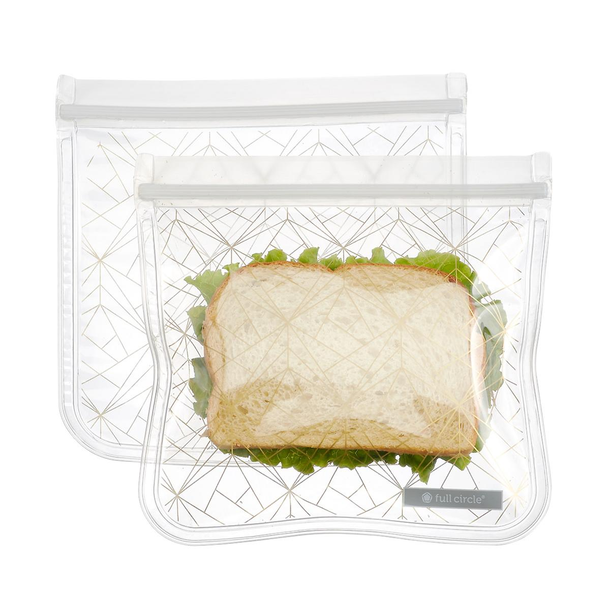 Full Circle Reusable Gold Geo Sandwich Bags