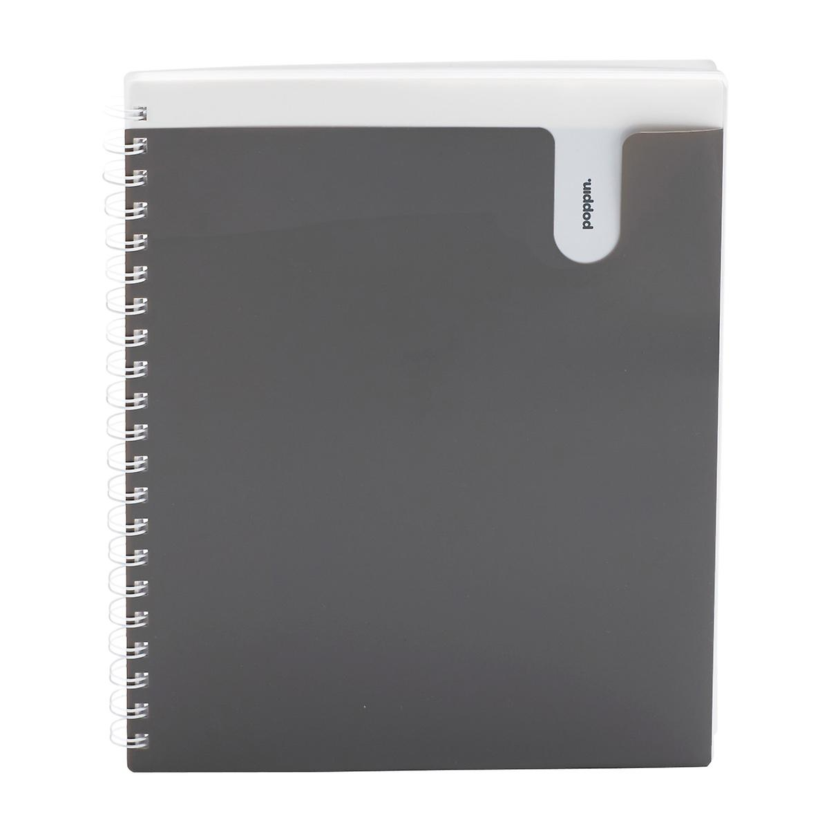 Poppin Large Dark Grey Spiral Pocket Notebook