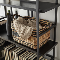 Black & Natural Water Hyacinth Storage Bins