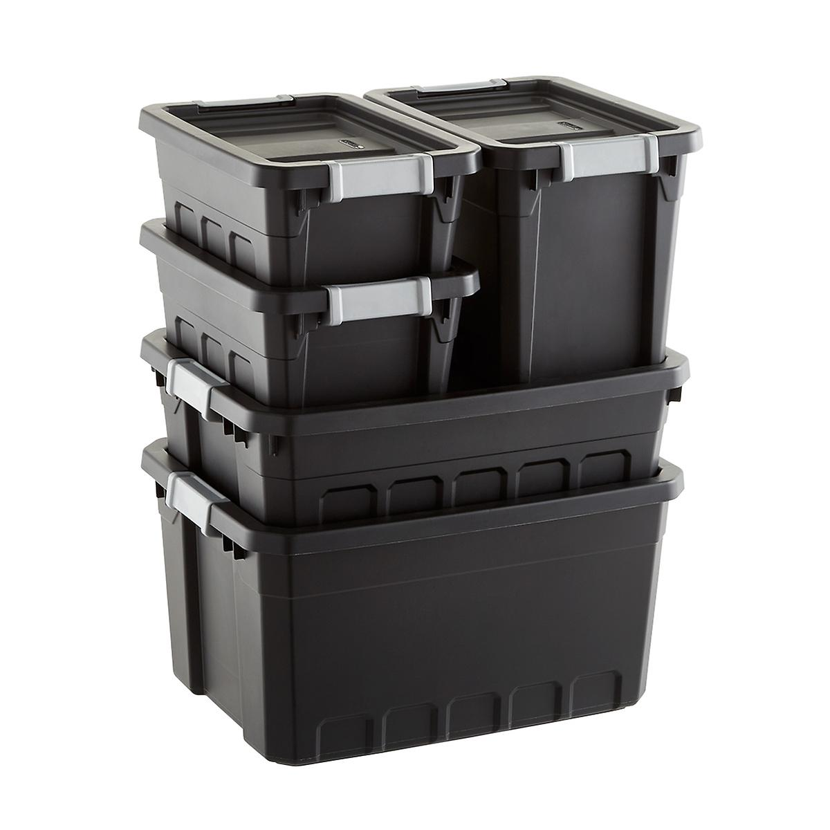 Sterilite Black Stacker Totes Cases of 6