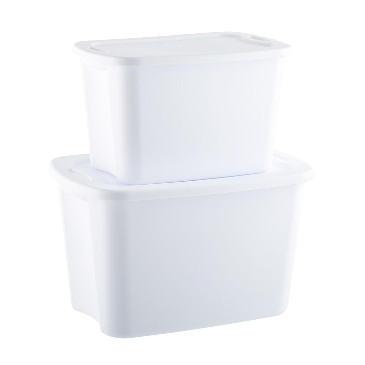 Cases of Sterilite White Tote Boxes