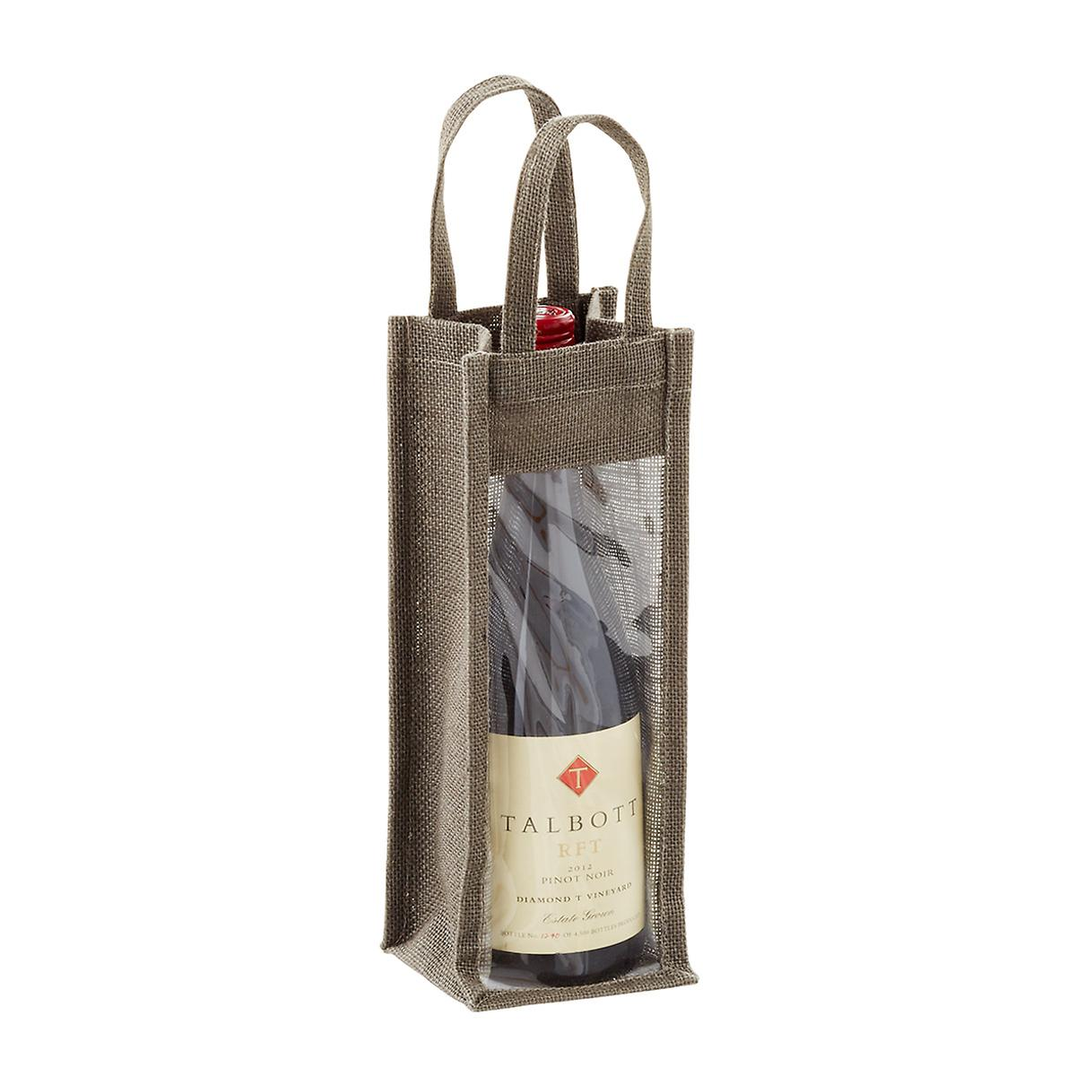 Natural Jute Bottle Tote with Window