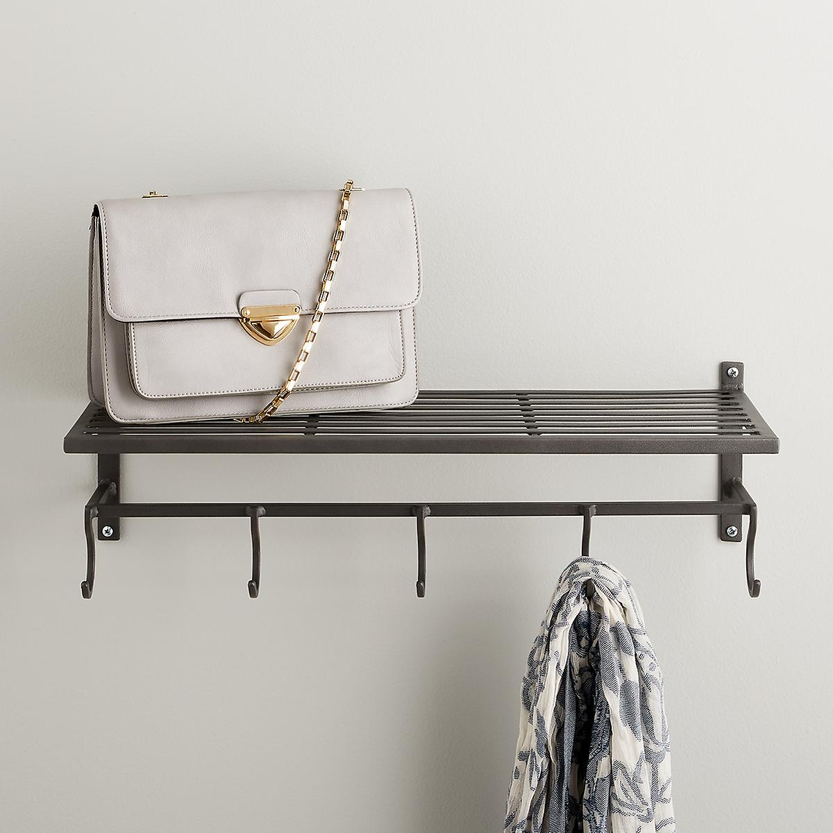 Pewter Ledge Shelf with Hooks