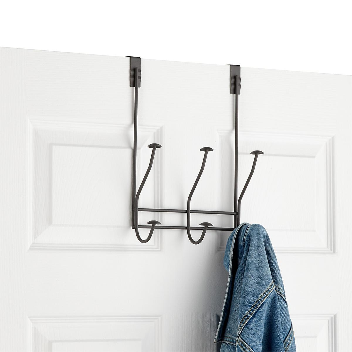 Industrial Grey 3-Double Hook Windsor Over the Door Rack