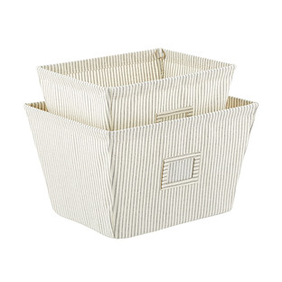Farmhouse Open Canvas Storage Bins with Labels