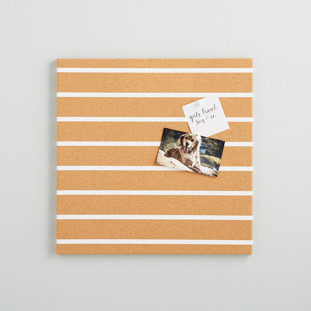 Three by Three Stripe Cream Cork Bulletin Board