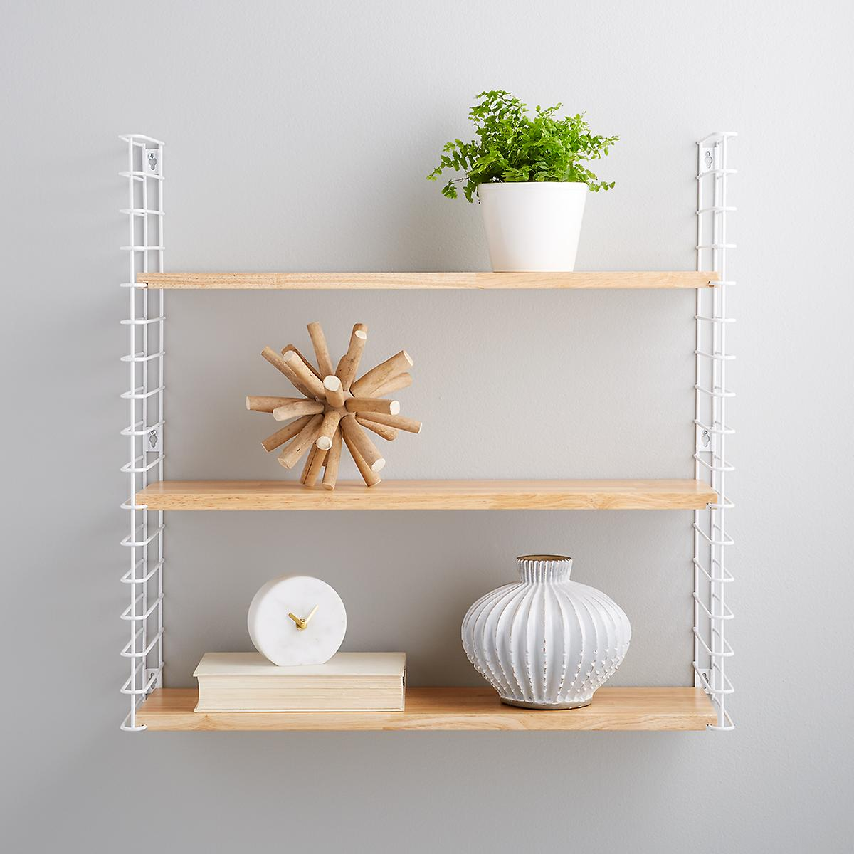 White Metal & Natural Solid Wood Libro Wall Shelf