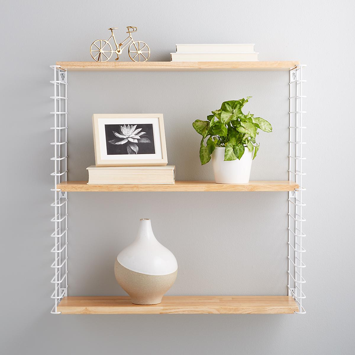 White Metal & Natural Solid Wood Libro Wall Shelf | The ...