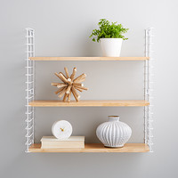 White Metal Natural Solid Wood Libro Wall Shelf