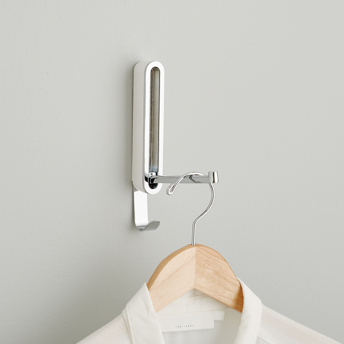 White Valet Flip-Down Hook