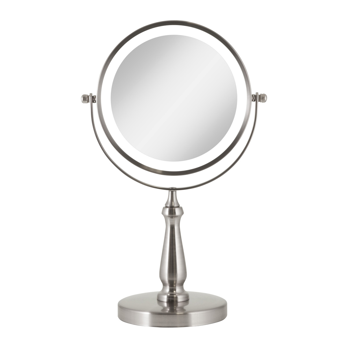 Satin Nickel 1X/8X LED Round Vanity Mirror