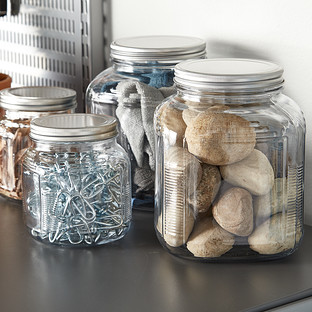 Anchor Hocking Glass Cracker Jars with Aluminum Lids