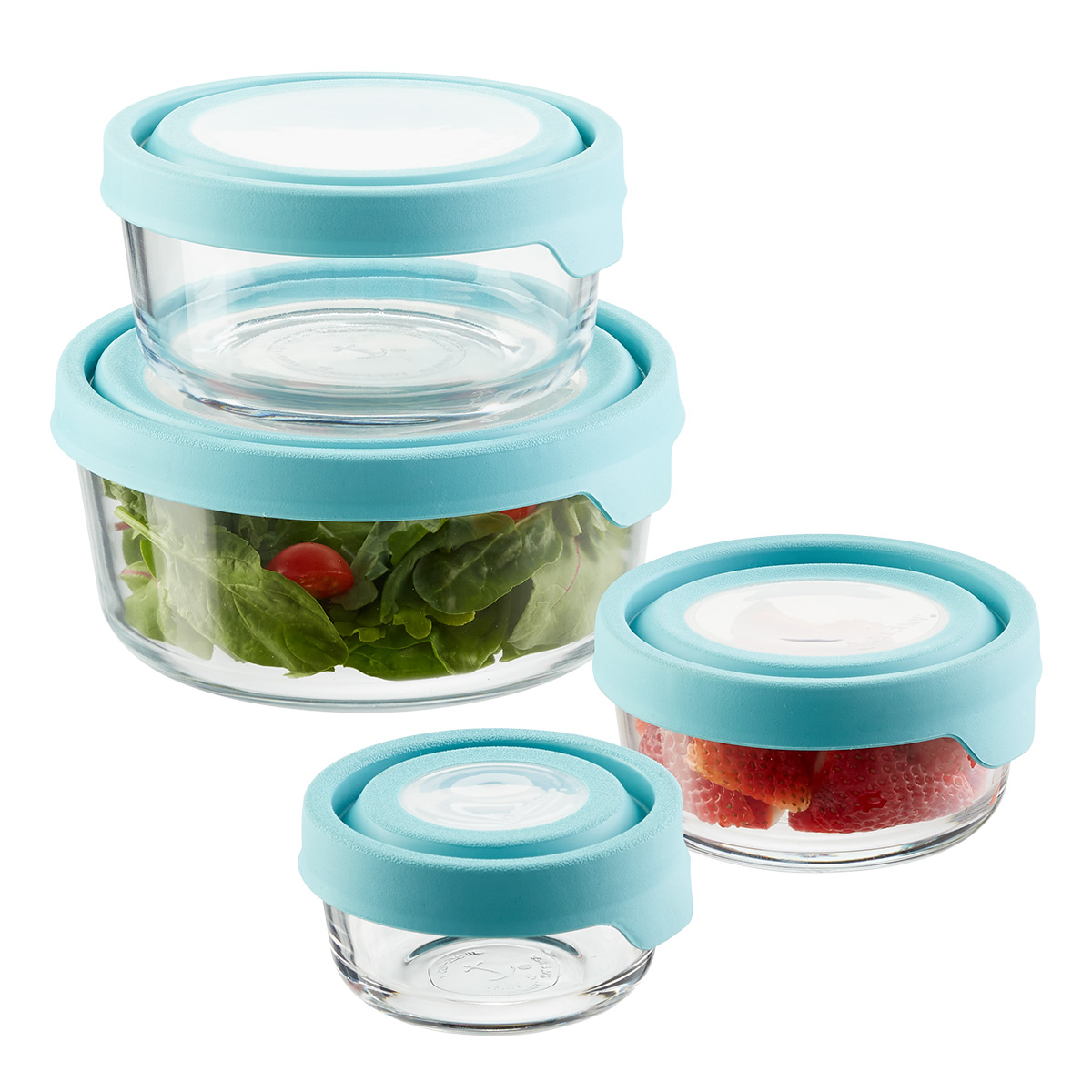 Anchor Hocking Glass TrueSeal Round Food Storage Containers with Blue Lids
