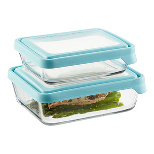 Anchor Hocking Glass TrueSeal Rectangle Food Storage Containers with Blue Lids