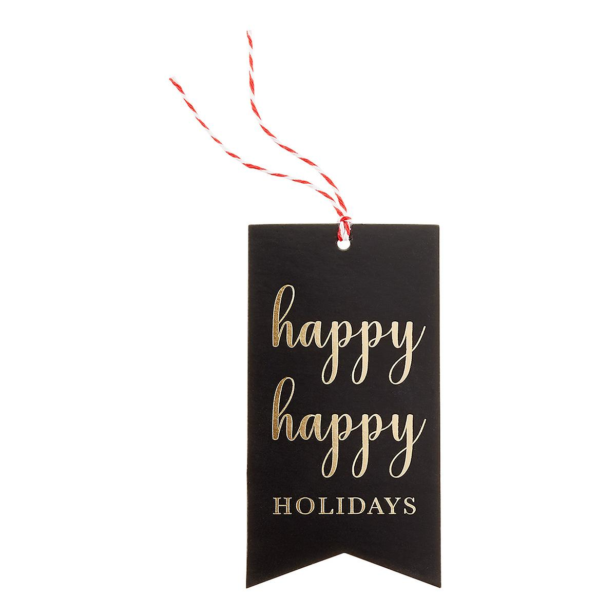 Black & Gold Happy Holidays Gift Tags Pack of 16